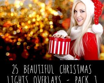 25 Christmas Bokeh Light Overlays, Photoshop Overlays, Light Overlays, high quality Bokeh Light, Photoshop Overlays for Photographers