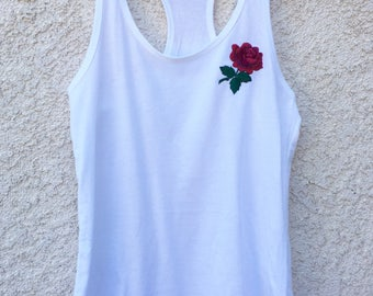 Embroidered Rose Tank Top, Rose Patch Tank Top, White Tank Top, Trendy Rose Embroidered Top, Summer Tank Top, Racerback Tank Top, Patch Top
