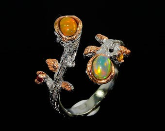 Fairytale gift, fire opal ring, Birthday jewelry mom, Opal Branch Ring, October Birthstone Ring, twig branch ring, statement gift women