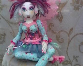 OOAK handmade soft sculpture fairy doll