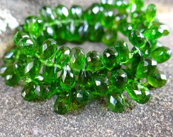 Deep Green Chrome Diopside   Faceted 3D Pear Teardrop Briolettes   6x3.5-7.5x4.5mm   Sold in Sets of 6