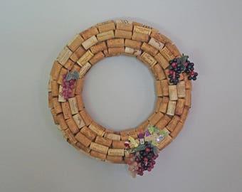 Wine Cork Wreath, Cork Wreath, Wine Wreath, Year Round Wreath, Wreath With Grapes, Wine Lover Gift, Wine Gift, Wine Enthusiast