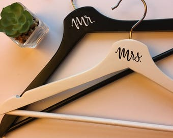 Bride and Groom Hangers | Wedding Hanger Set | Bride | Groom | Wedding Gift | Personalized Hanger | Wood Hanger | Black and White