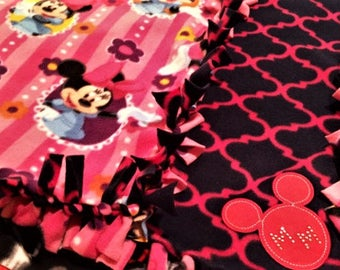 PrettyN'Pink with Minnie Mouse! Handmade fleece blanket designed by JAX. A Disney character theme throw featuring Minnie getting all girly!