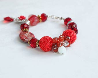 Red women bracelet| various stone bracelet| bright red bracelet| elegant beaded bracelet| gemstone bracelet| gift for her