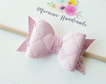 Baby Pink Sequin Faux Leather Hair Bow, Glitter Bow, Nylon headband, Hair Clip, Choose Headband or Clip