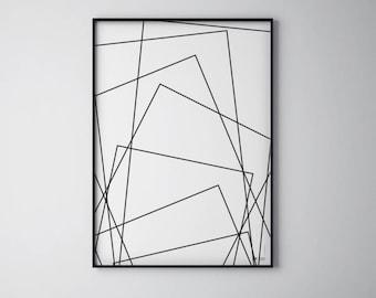 "Minimal Art Print |  Black and White | Modern poster | Geometric | WzoryKolory | ""Crazy rectangles"""