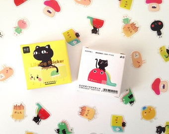 Retro boogly eyed cat and friends box of cute kawaii kitsch stickers