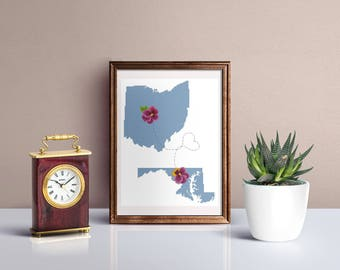 Best friend gift personalized cross stitch pattern PDF, Long distance friendship, Modern Map States cross stitch
