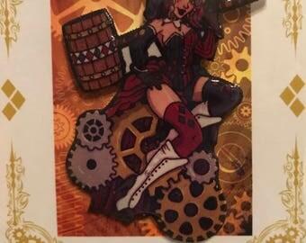 Steampunk Harley Quinn Pin