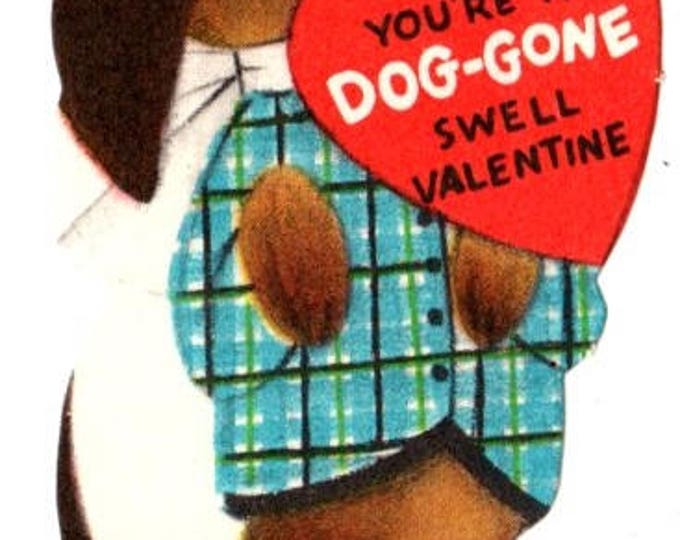 Vintage Doxie Dog You're A Dog-gone Swell Valentine Die-Cut Children's Classroom Valentine's Day Card UNUSED