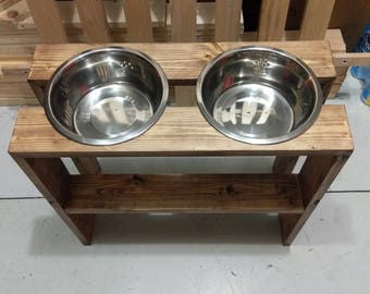 Rustic Dog Food Bowl Stand