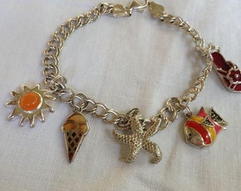 Sterling Silver and Enamel Charm Bracelet with Seaside Charms