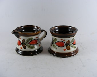 Vintage Schramberg SMF Bernau German Ceramic Majolica Hand Painted Sugar Bowl And Creamer
