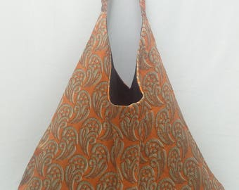 Trapeze bag made from printed upcycled Indian sari