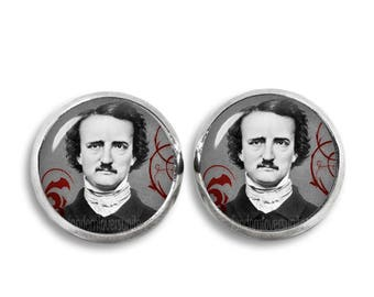Edgar Allan Poe Earrings Edgar Poe Stud Earrings 12mm Edgar Allan Poe Jewelry Nevermore Gothic