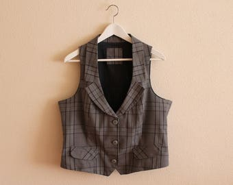 Grey Vest Gray Plaid Vest Women's Vest Women Steampunk Vest Checkered Fitted Waistcoat Suit Collar Extra Large Size