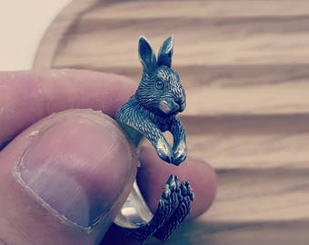 Easter rabbit etsy bunny ring rabbit ring hare ring animal jewelry silver rabbit gift adjustable ring easter rabbit negle Gallery