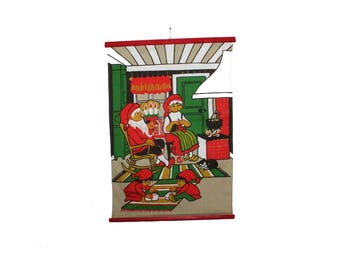 Lovely vintage retro Christmas Wall hanging Tapestry with gnome santa Family. Made in Sweden Scandinavian