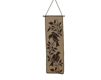 Lovely vintage retro mid century modern Wall hanging Tapestry with birds. Offwhite & brown. Handicraft. Made in Sweden Scandinavian.