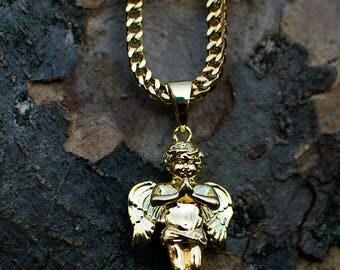 "18k Gold PVD Plated Micro Fallen Cherub Angel Necklace Chain Pendant 22"" 28"""