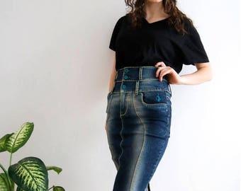 Bodycon Denim Skirt High Waist Skirt Denim Jeans Skirt Denim Mini Skirt Dark Blue Skirt Washed Out Skirt Small Size Skirt