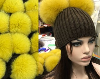 Brown Beanie hat with 2 natural yellow fox fur bobbles/pompoms attached