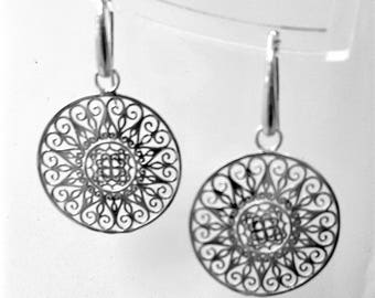 """Silver earrings """"Almost filigree"""" large"""