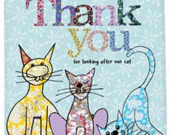 Thank you for looking after our cat tea towel, cotton cat dish towel, cute kitchen towel, cat's kitchen, gift as thank you by MollyMac.