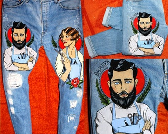 """Jeans LEVI'S vintage  """"The Barber"""" - Custom Jeans Hand-Painted"""