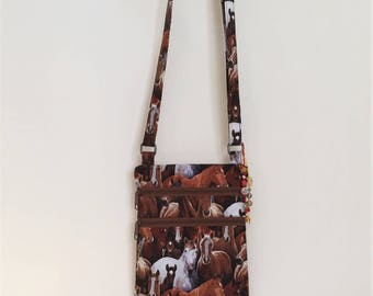Small Crossbody Purse Horses Herd  Crossbody Bag, Herd of Horses, Horse Ranch Fabric, Horse Lover Gift Small