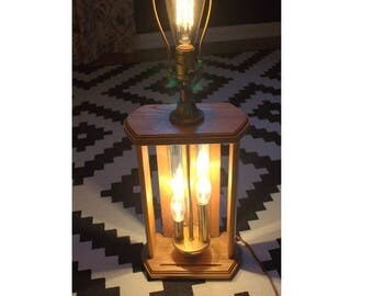 Midcentury modern table lamp, vintage table lamp, unique wood table lamp