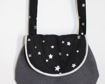 Chic bag for girl, grey, black and silver stars