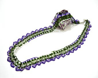Purple green necklace Turkish crochet necklace Turkish oya necklace Beaded oya necklace Lariat flowers necklace Crochet beadwork bracelet