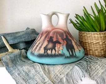 Authentic Native American POTTERY WEDDING VASE / Signed Native American Decor /  SouthWestern Etched Native American Vase