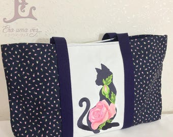 Russian Blue Embroidered Bag - Hand Made in Japan