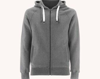 Zip Hoody - Grey 100% Organic Cotton