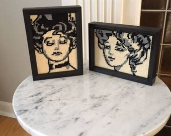 Pr. Vintage Mid Century Modern Hand Crafted Needlepoint wall art/hanging/women/Black/White/Gray