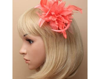 Coral feather flower fascinator on a clear comb, Head Piece, Mother of the Bride / Groom, Church Fascinator, Wedding Hair, Coral Flower Hair