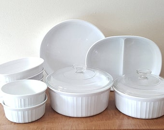Vintage Corning Ware French White 10 Casserole Dishes + 2 Lids~ Corning French White Pyroceram Casserole Set