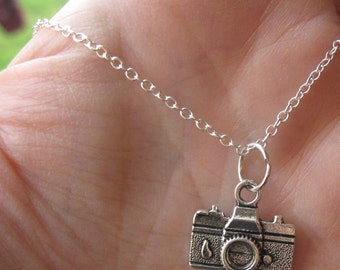 Camera Charm Necklace 925 Sterling Silver Chain CUSTOM  MADE Womens Girls Camera Pendant Photography Jewelry Jewellery Photographer Gift