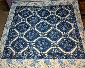 Blue and White Batik Lap Quilt
