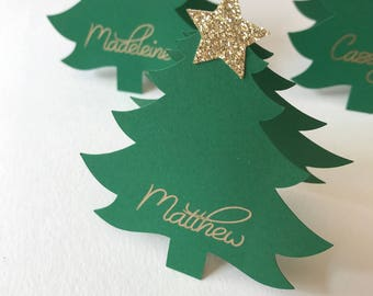Christmas Place Cards, Christmas Tree Place Cards, Santa Hat Place Cards, Christmas Decor, Christmas Table Setting, Christmas Party Decor