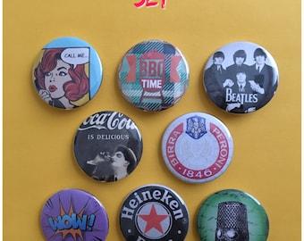 Pin 1.5 Coca Cola vintage retro the Beatles bear soda comic barbecue pinback button magnet refrigerator magnet key keychain