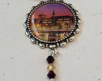 Vibrant purple ribbon city-scape cabochon and bead necklace