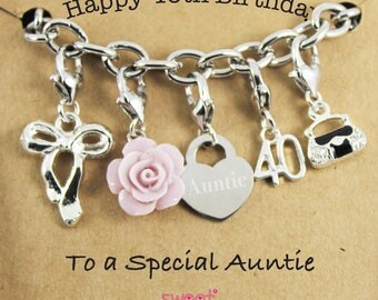 Happy 40th Birthday Rose Lucky Charm Bracelet Gift for Bestie, Sister, Niece, Princess.