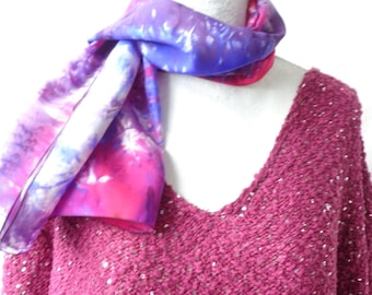 blue and fuchisa  silk scarf, hand dyed silk scarf, long silk scarf,handmade silk scarf, gift for her