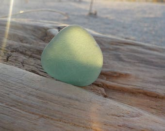 """Genuine Perfectly smoothed flawless Green Sea Glass piece-Size 0.9""""-Jewelry quality-Pendant size Sea Glass#J228#"""