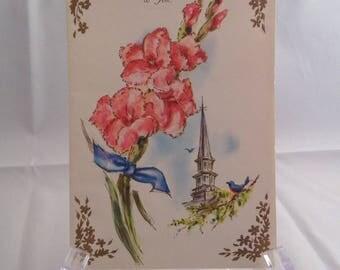 Vintage Greeting Card Church Steeple Birds