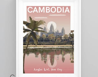 ANGKOR WAT, CAMBODIA, Vintage Travel Poster, Temple, Siem Reap, A4/A3 Print, Custom Options.